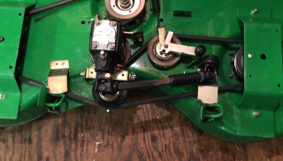 "Dolly fits decks with these rear mounts. Rear mounts approx. 21 1/2"" center to center apart."
