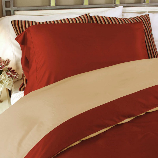 Reversible Bamboo Champagne/Cayenne Duvet Cover
