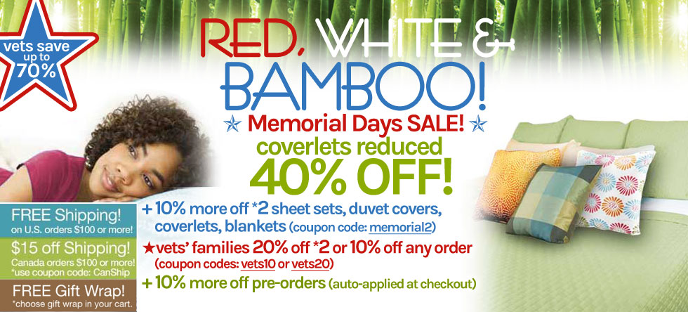 Red White & Bamboo Bamboo Coverlet Sale!