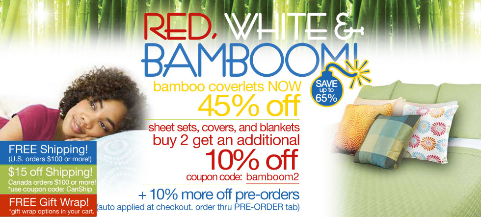 Red, White & BamBOOM Bamboo Coverlet Sale!