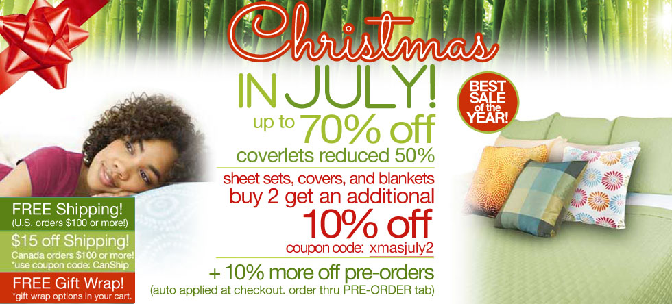 Christmas in July Bamboo Coverlet Sale!