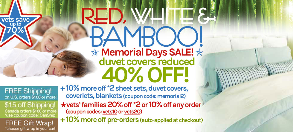 Red White & Bamboo Bamboo Duvet Cover Sale!