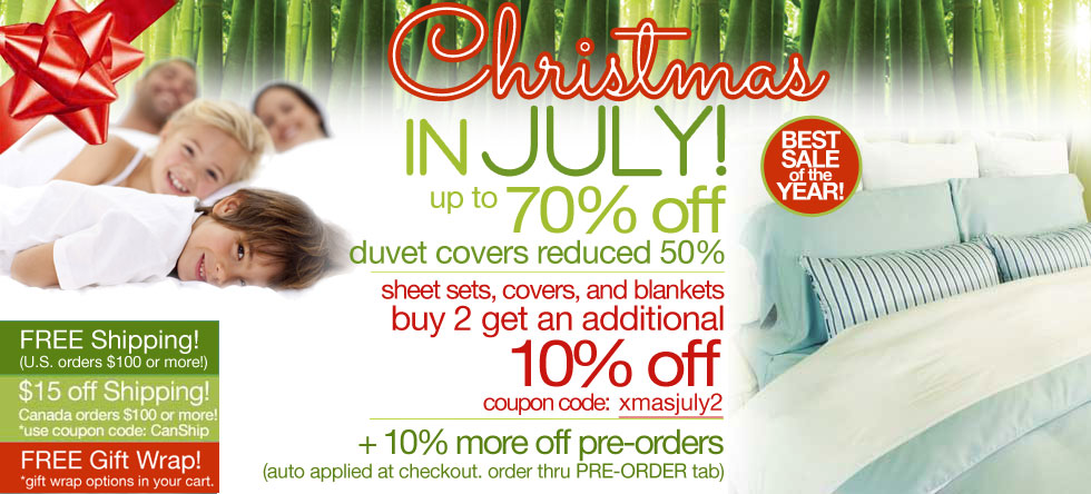 Christmas in July Bamboo Duvet Cover Sale!