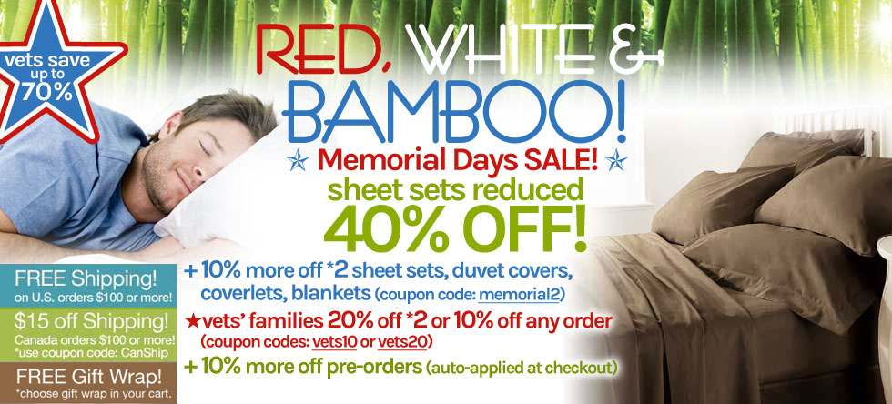 Red White & Bamboo Bamboo Sheet Set Sale!