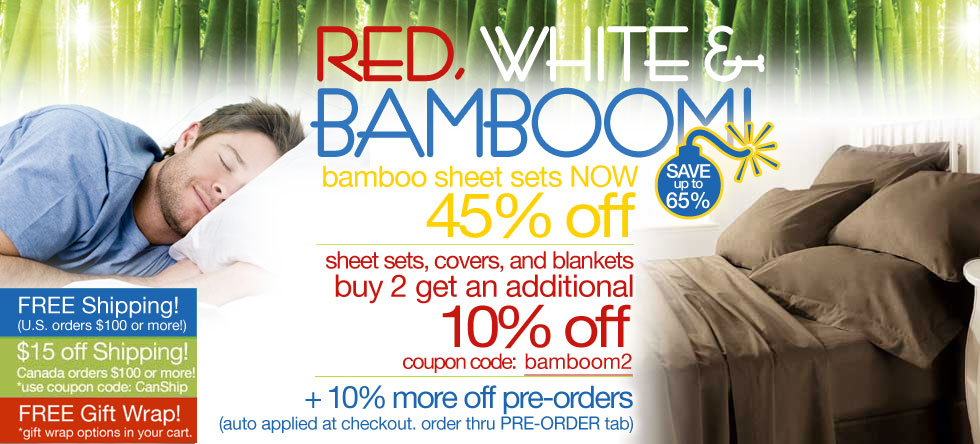 Red, White & BamBOOM Bamboo Sheet Set Sale!