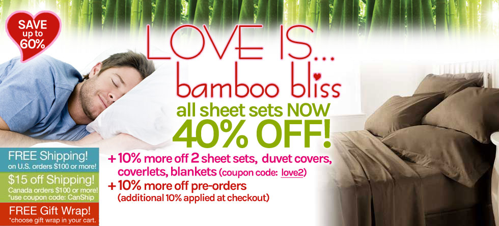 LOVE IS... Bamboo Sheet Set Sale!