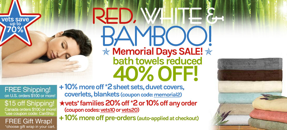 Red White & Bamboo Bamboo Towel Sale!