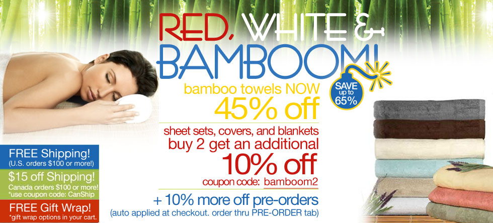 Red, White & BamBOOM Bamboo Towel Sale!