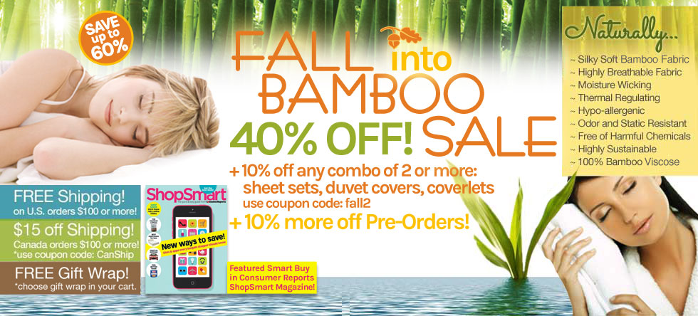 Fall into Bamboo Bedding and Bath Sale!