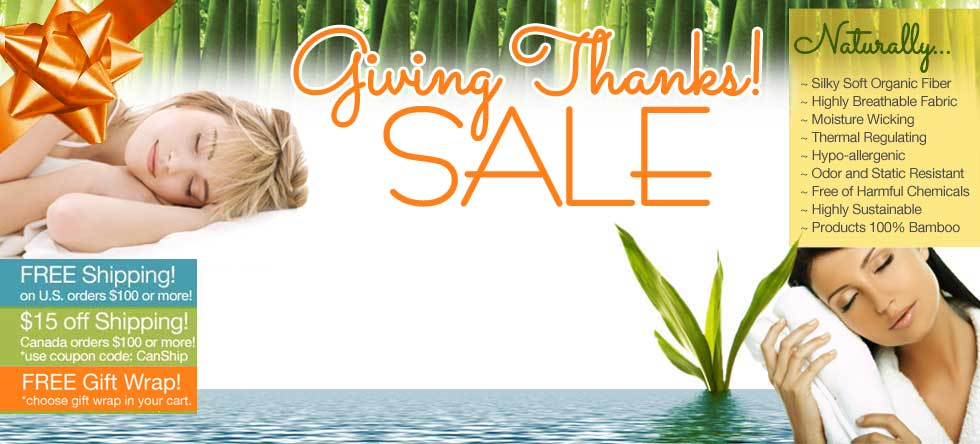 Give Thanks! Bamboo Bedding Sale!