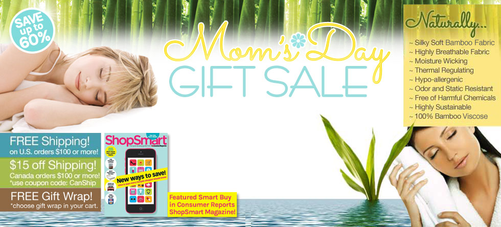 Mom's Day Bamboo Bedding and Bath Gift Sale!
