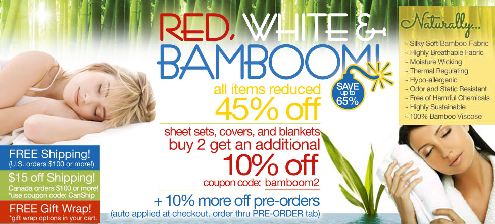Red, White & BamBOOM Bedding and Bath Sale!