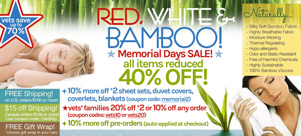 Red White & Bamboo Bedding and Bath Sale!