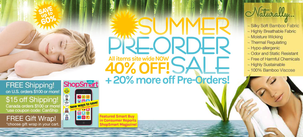 Summer Pre-Order Bamboo Bedding and Bath Sale!