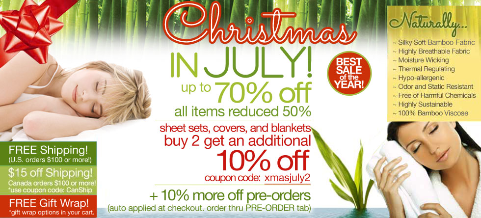Christmas in July Bamboo Bedding and Bath Sale!