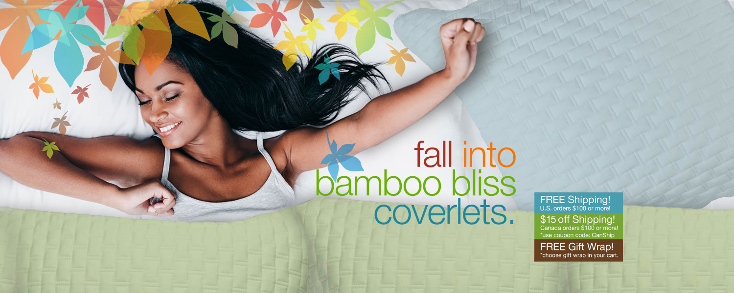 fall into bamboo bliss coverlets. save on bamboo coverlets