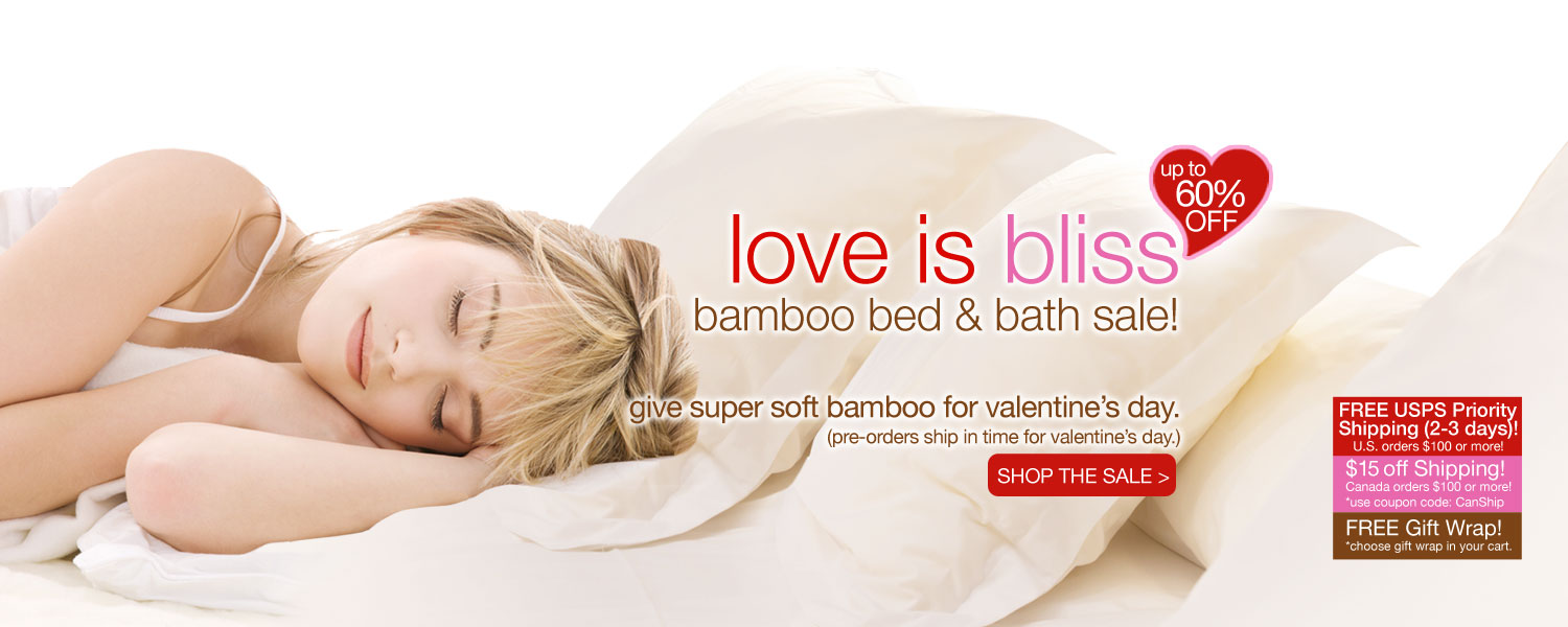 love is bliss bamboo bed & bath SALE! up to 60% off