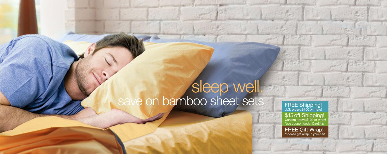 sleep well. save on bamboo sheet sets