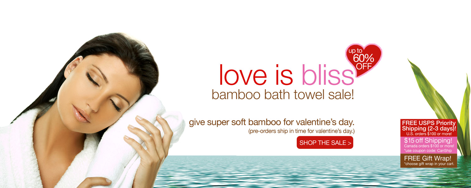 love is bliss bamboo bath towel SALE! up to 60% off