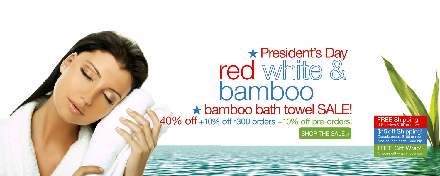 President's Day bamboo bath towel SALE! up to 60% off