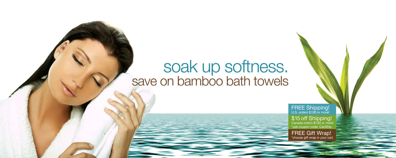 soak up softness. save on bamboo bath towels