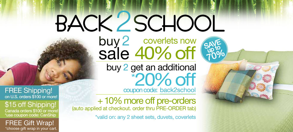 Back 2 School Bamboo Coverlet Sale!