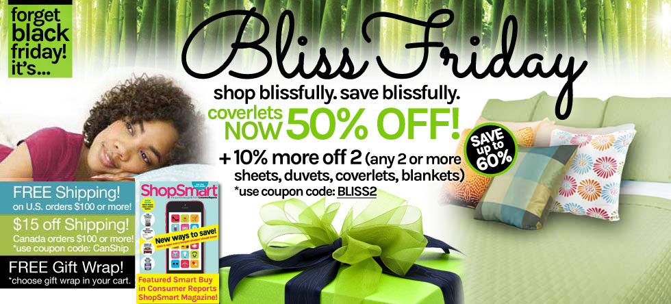 Bliss Friday!  Bamboo Coverlet Sale!