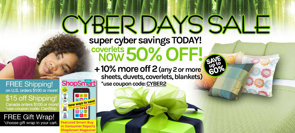 Cyber Days!  Bamboo Coverlet Sale!