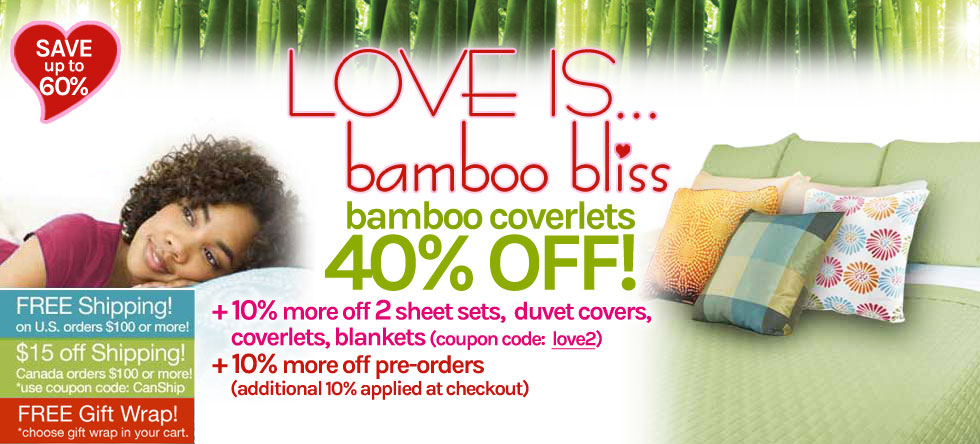 LOVE IS... Bamboo Coverlet Sale!