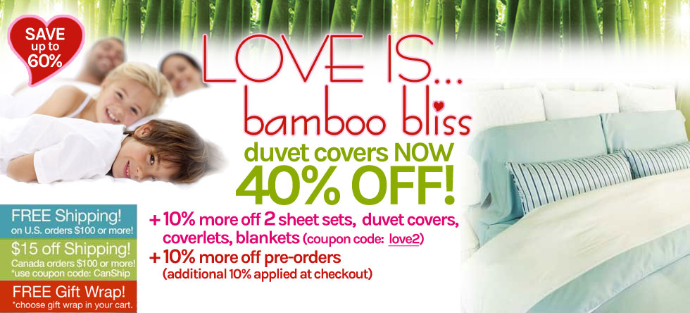 LOVE IS... Bamboo Duvet Cover Sale!