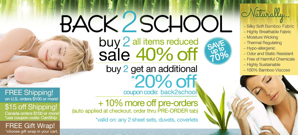 Back 2 School Bamboo Bedding and Bath Sale!