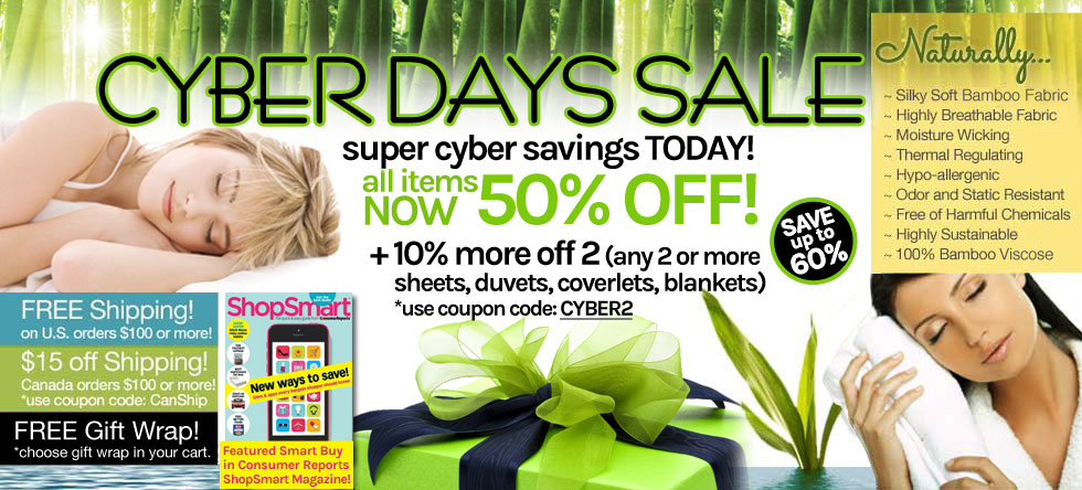 Cyber Days! Bamboo Bedding and Bath Sale!