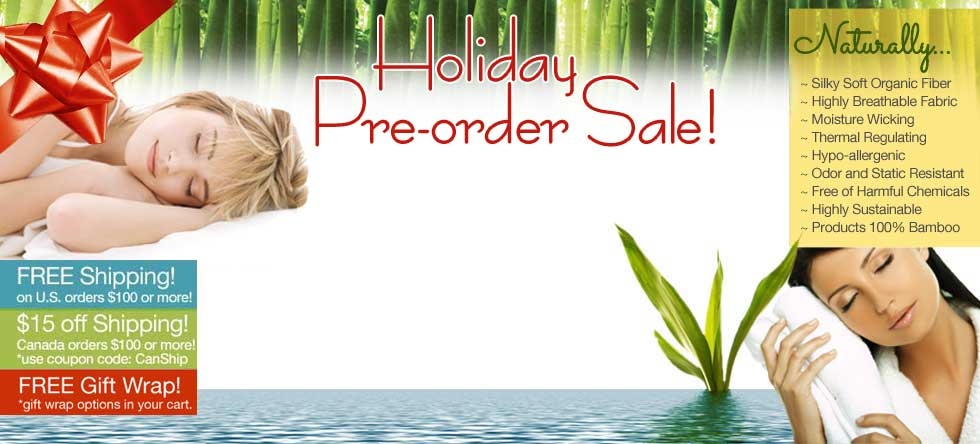 Holiday Pre-Order Bamboo Bedding Sale!