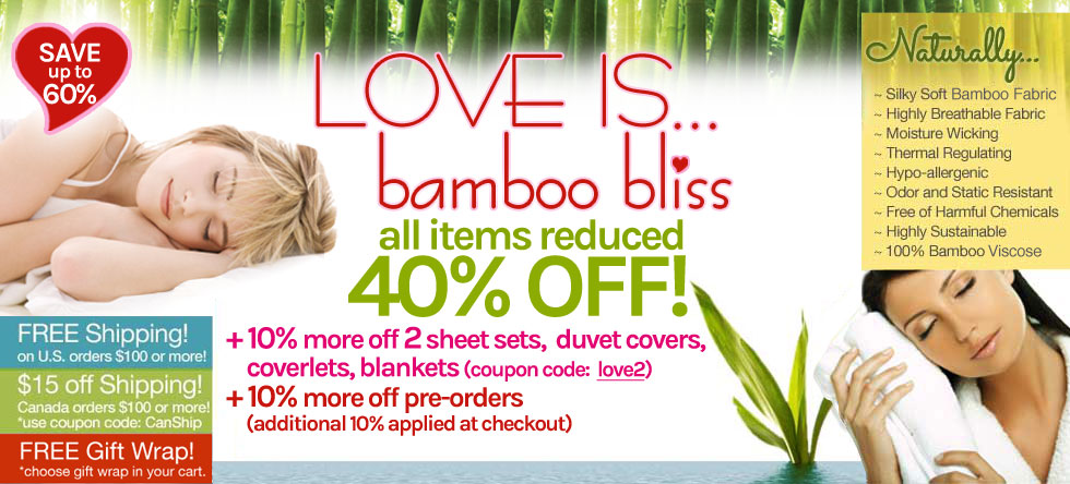 LOVE IS... Bamboo Bedding and Bath Sale!