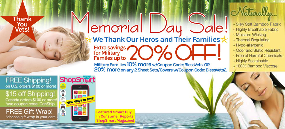 Memorial Day Weekend Bamboo Bedding and Bath Sale!