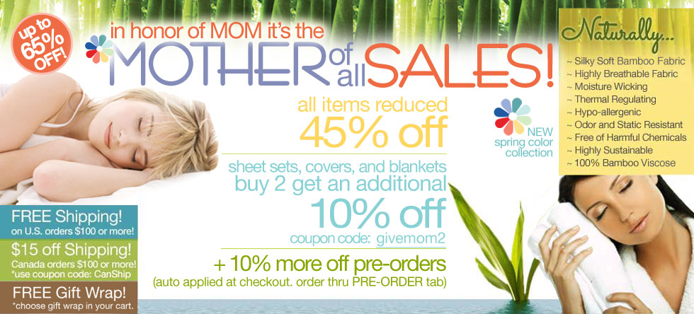 Mother of all Bamboo Bedding and Bath Sale!