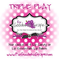 Triple Play - Your Choice of 3 ForGoodnessGrape Lip Balms