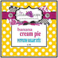 Banana Cream Pie Perfume Oil - 10 ml - Roll On Perfume  One of my all time favorite pies! Oh...the aroma of freshly made banana cream pie. This fragrance begins with top notes of ripe bananas and base notes of vanilla extract, graham cracker pie crust and butter rum.  Perfect to carry along in your purse for little touch-ups throughout the day.  PERFUME ROLLER STIX are great for layering scents as well, which is one of my favorite ways to use them. Just put one or two in your purse or in your pocket and you are good to go!  PERFECT SIZE FOR PURSE, TRAVEL OR BACKPACK  All of my Perfume Roller Stix and Perfume Stix are blended with are all infused with richly scented perfume grade oils and essentials oils and in perfume ratios into a blend of coconut and jojoba oils which absorb quickly into the skin to keep you smelling GRAPE for hours!  To use: Apply to pulse points on wrists, inside the elbows, behind the ears, or anywhere you want a boost of fragrance. Allow it to sink in for 1-2 minutes and youƒ??ll smell ƒ??GRAPEƒ?? for hours! (Great!)  Follow this link to see more of my PERFUME Roller Stix in different fragrances: http://www.etsy.com/shop/forgoodnessgrape?section_id=7139636  Follow this link to get back to my main shop page: http://www.etsy.com/shop/forgoodnessgrape?ref=si_shop  This listing is for 1 PERFUME ROLLER STIX and contains approximately 5 ml. _____________________________________________ Click here to see the BUZZ about my ƒ??GRAPEƒ?? products: http://www.etsy.com/feedback_received.php?feedback_type=from_buyers