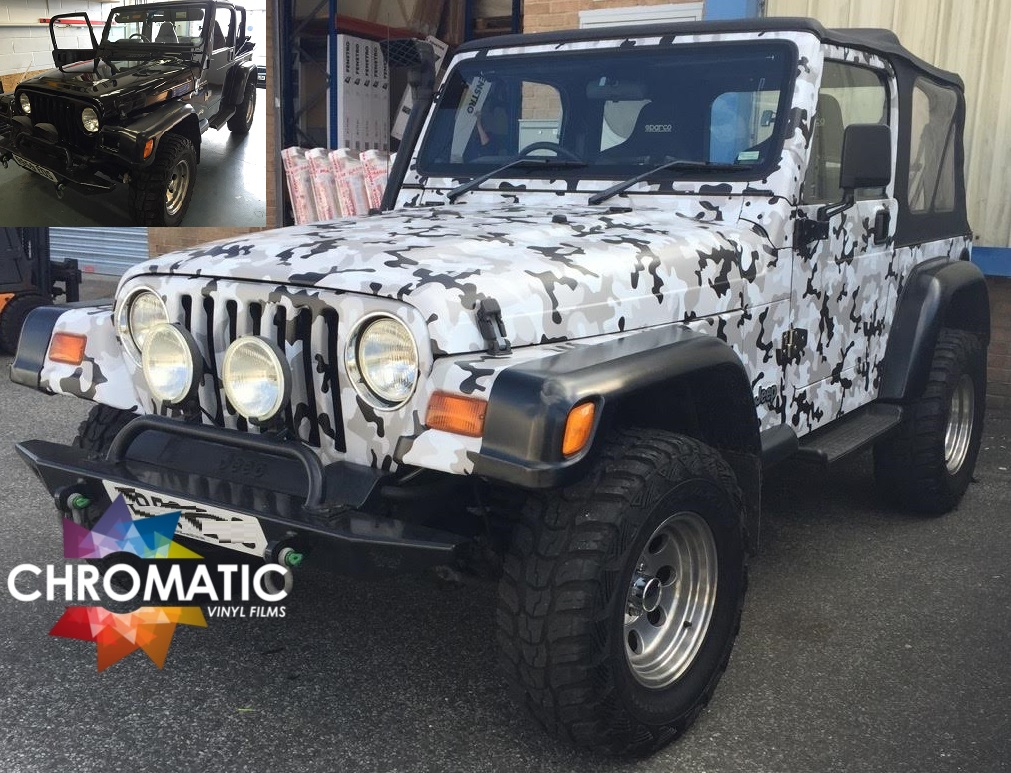 White Camo Jeep : Car wrapping gallery