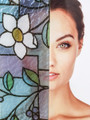 Stained Glass Daisy Privacy Window Film - Static Cling