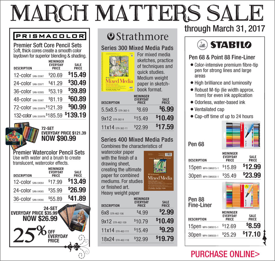 March Matters Sale through March 31, purchase online