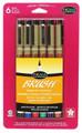 Pigma Brush Assorted Colors 6pc