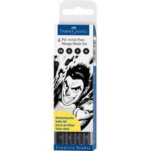 Pitt Pen Manga Black 4pc Set