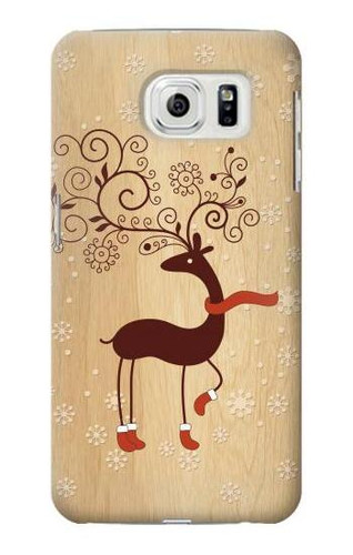 S3081 Wooden Raindeer Graphic Printed Case For Samsung Galaxy S7 Edge