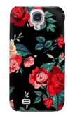 S3112 Rose Floral Pattern Black Case For Samsung Galaxy S4