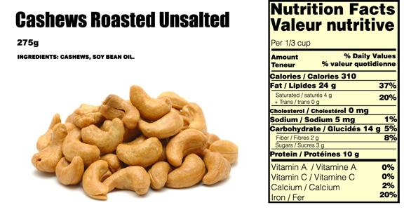cashews-nutritional