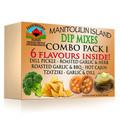Dip Mix Combo #1 Dill pickle dip, roasted garlic and herb dip, roasted garlic and bbq dip, hot cajun dip, tzatziki dip, garlic and dill dip.