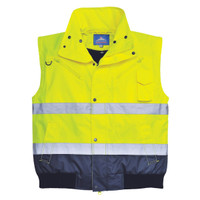 Portwest Mens Hi Viz Reflective Safety 3 in 1 Bomber Vest Jacket