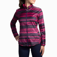 Brooks Running Navy Berry Stripe Lite Shelter Device Jacket for Women