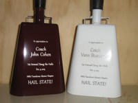 Custom laser engraved cowbells.  Please allow approximately 1 week before shipping.